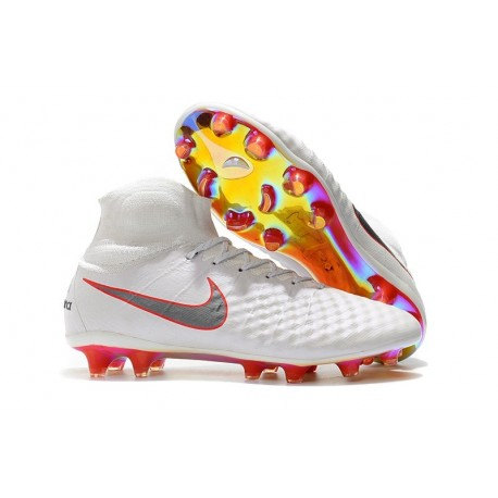 New Nike Shoes - Nike Magista Obra II FG Soccer Boots White Metallic Cool Grey Light Crimson