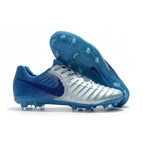 Soccer Shoes For Men Nike Tiempo Legend 7 FG - Silver Blue
