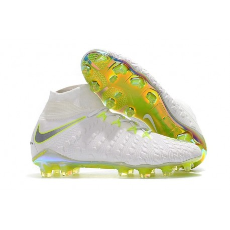 Nike Soccer Cleats - New Nike Hypervenom Phantom III Elite DF FG White Metallic Cool Grey Volt
