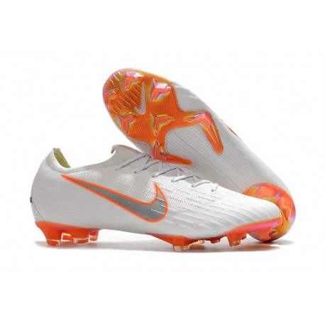 Football Boots for Men - Nike Mercurial Vapor XII 360 Elite FG White Metallic Cool Grey Total Orange