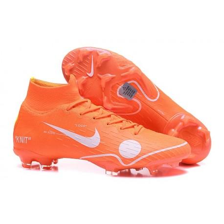 Soccer Shoes For Men - Nike Mercurial Superfly 6 Elite FG Off-White For Nike - Orange White Blue Yellow