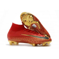 2018 Nike cr7 Mercurial Superfly 6 Elite FG Red Black Gold / Bright Crimson Black Gold