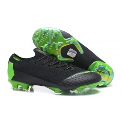 New Men Soccer Shoes Nike Mercurial Vapor XII 360 Elite Firm-Ground Black Green