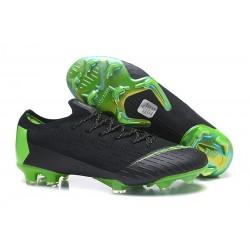 New Men Soccer Shoes Nike Mercurial Vapor XII 360 Elite Firm-Ground Black Green