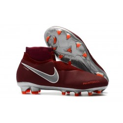 Nike Phantom Vision Elite DF FG - Football Cleats Team Red Metallic Dark Grey Bright Crimson