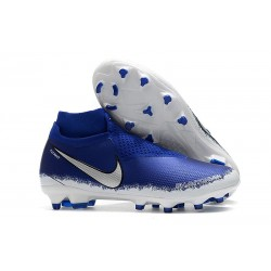 Nike Phantom Vision Elite DF FG - Football Cleats Blue Silver