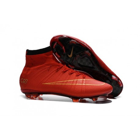 Nike Men's 2016 - Mercurial Superfly 4 FG Soccer Shoes CR7 Red Gold Black