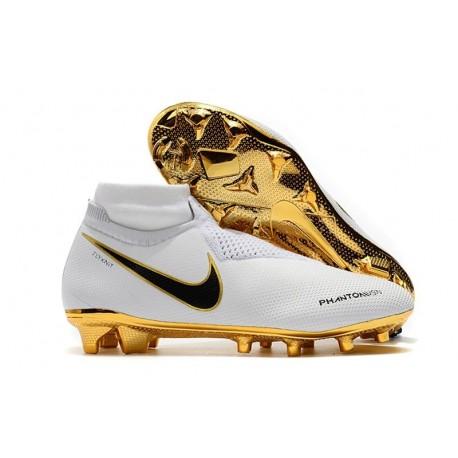 New! Soccer Cleats Nike Phantom Vision Elite DF FG White Gold