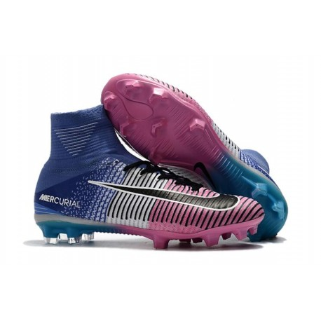 Nike Mercurial Superfly V Tech Craft FG Soccer Cleats Pink Blue White