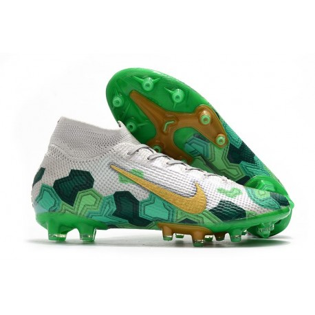 Nike Mercurial Superfly 7 Elite AG x Mbappé Grey Gold Electro Green
