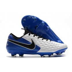 Nike Tiempo Legend VIII Elite FG Cleat White Blue Black