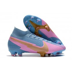 Nike New Mercurial Superfly 7 Elite FG - Blue Pink Gold