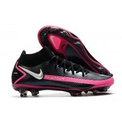 New 2021 Nike Phantom GT Elite DF FG Black Pink Blast Metallic Silver