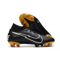 Nike New Mercurial Superfly 7 Elite FG - Black White