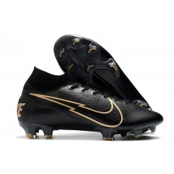 Nike New Mercurial Superfly 7 Elite FG - Leather Black Gold