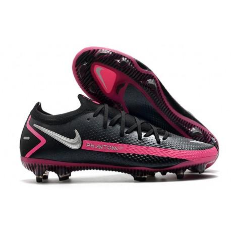 Nike Phantom GT Elite FG New Cleats Black Pink Blast Metallic Silver