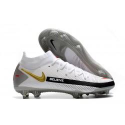 New 2021 Nike Phantom GT Elite DF FG Boots White Black Red Gold