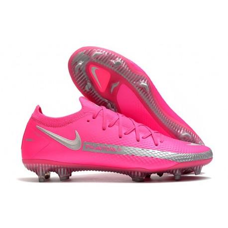 Nike 2021 Phantom GT Elite FG Soccer Shoes Pink Silver