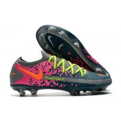 Nike 2021 Phantom GT Elite FG Soccer Shoes Gray Blue Pink