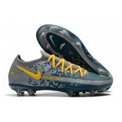 Nike 2021 Phantom GT Elite FG Soccer Shoes Blue Yellow Gray