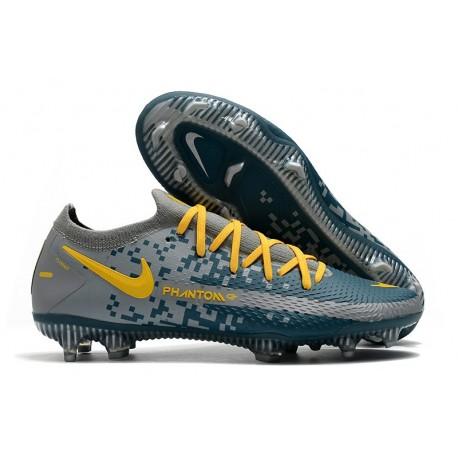 Nike 2021 Phantom GT Elite FG Soccer Shoes Blue Yellow Gray